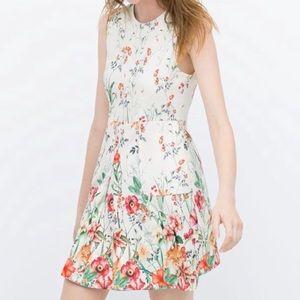 ZARA Women Floral Print Sleeveless Dress